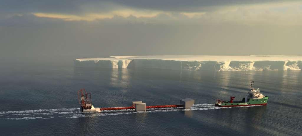 Dans leur Polar Pod, que l'on voit ici tracté à l'horizontale, Jean-Louis Étienne et son équipage réaliseront un tour complet de l'Antarctique, le long du courant circumpolaire austral, sur 24.000 km. Dans des creux de dix mètres, le déplacement horizontal au niveau de la passerelle supérieure sera de deux mètres. Le vaisseau restera habitable dans les plus grosses mers. L'énergie sera fournie par trois éoliennes et une hydrolienne. Des voiles permettront d'orienter le navire. © DR