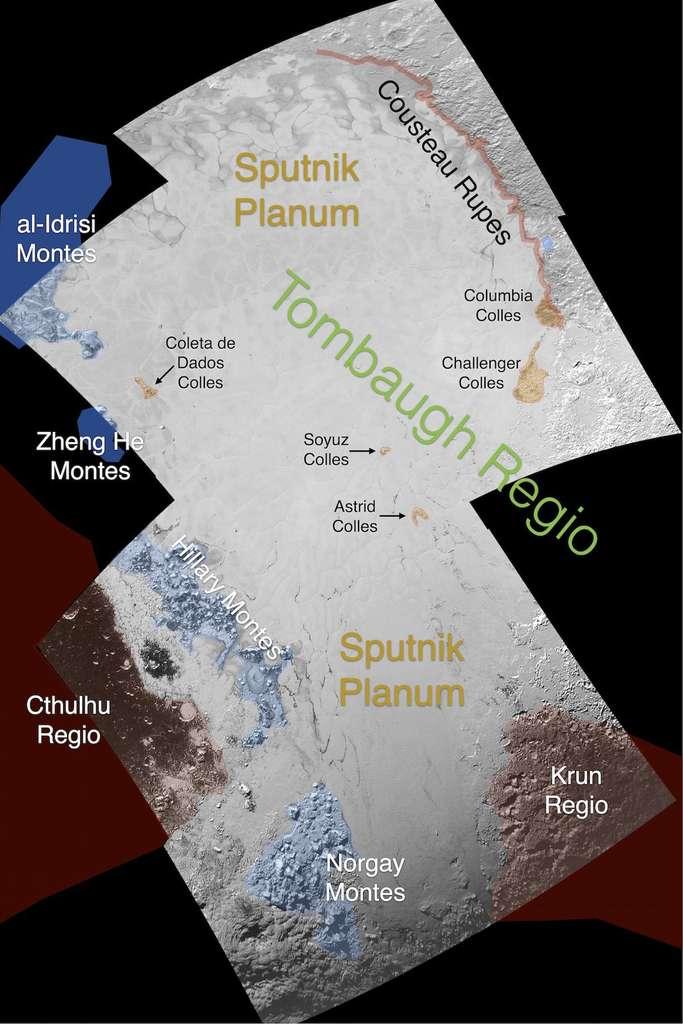 Au cœur de la région Tombaugh, principaux noms attribués aux reliefs dans et autour de la plaine Spoutnik. © Nasa, JHUAPL, SwRI
