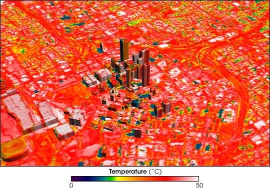 Thermographie de la ville d'Atlanta faisant ressortir les îlots de chaleur urbains les plus intenses en blanc. © Image courtesy Nasa Goddard Space Flight Center, Scientific Visualization Studio, Domaine public