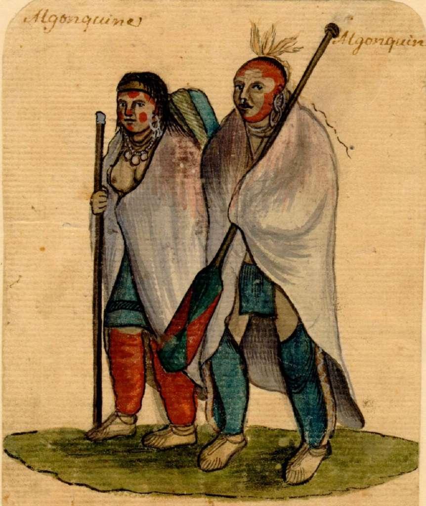 Couple d'indiens algonquins, vers 1750. Archives de la ville de Montréal. © Centre d'Histoire de Montréal.