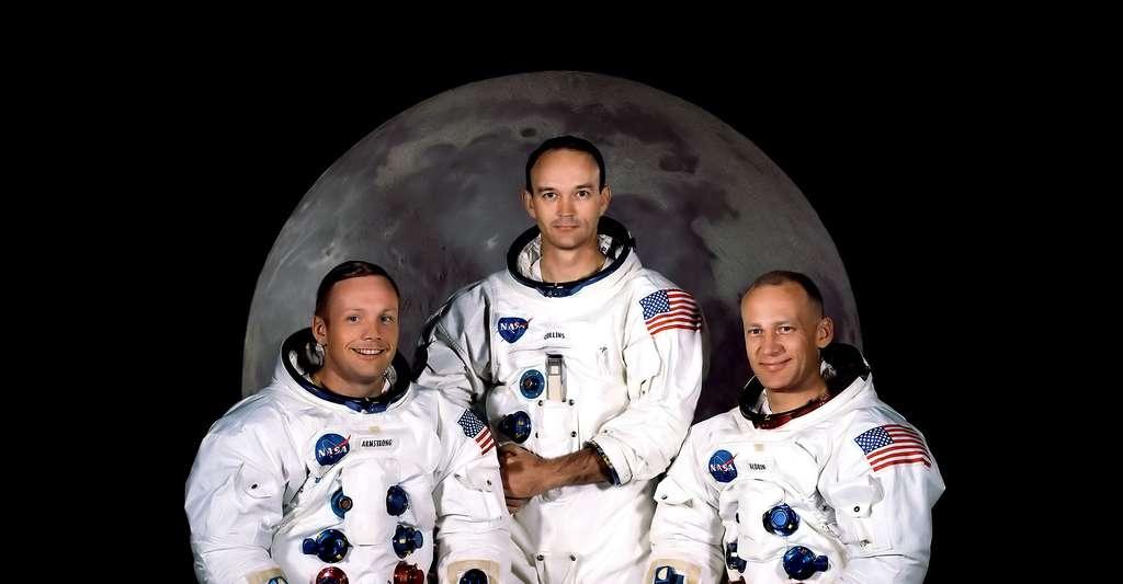 De gauche à droite, Neil A. Armstrong, Michael Collins, et Edwin E. Aldrin Jr de la mission Apollo 11. © Nasa, DP