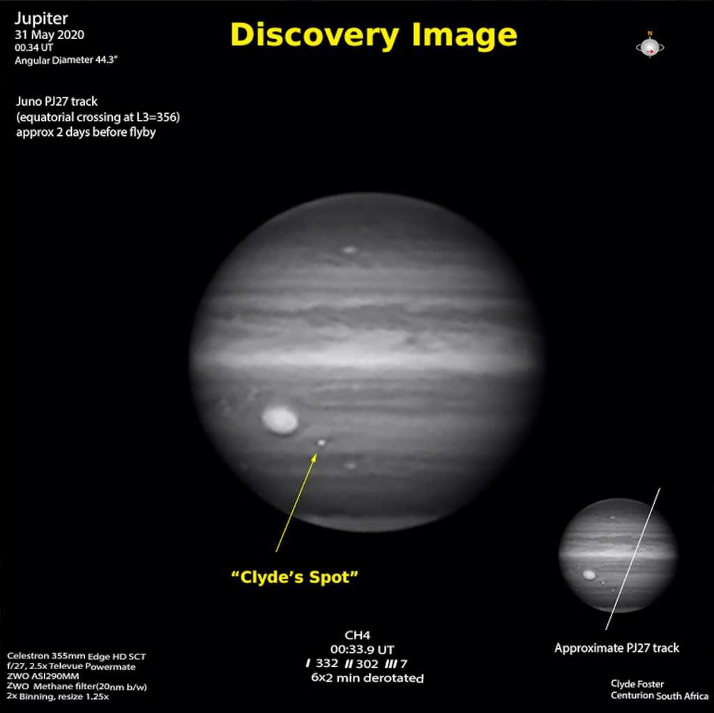 L'image prise par Clyde Foster, le 31 mai 2020. On y découvre la nouvelle tempête jovienne qui sera baptisée Clyde Spot. En bas à droite, la trajectoire approximative de la sonde Juno, deux jours plus tard. © Nasa