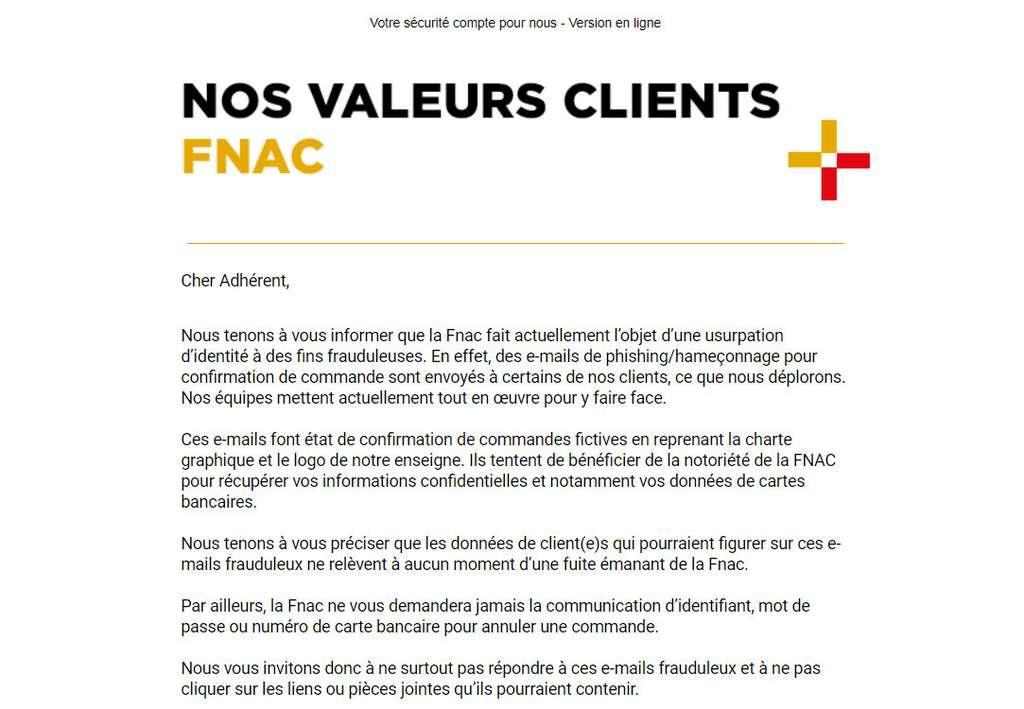 La Fnac et Darty ont envoyé le message suivant à leurs clients. © Darty-Fnac