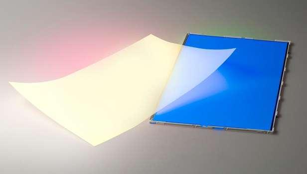 Le filtre QDef de 3M et Nanosys transforme une partie du rétroéclairage bleu de l'écran en vert et en rouge, afin d'obtenir un mélange de ces trois couleurs procurant un blanc parfait. © Nanosys