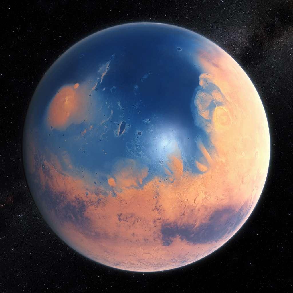 Cette impression d'artiste montre à quoi ressemblait Mars il y a environ quatre milliards d'années. La jeune Planète rouge aurait eu suffisamment d'eau pour couvrir toute sa surface d'une couche liquide d'environ 140 mètres de profondeur, mais il est plus probable que cette eau se serait accumulée pour former un océan occupant près de la moitié de l'hémisphère nord de Mars, atteignant dans certaines régions des profondeurs supérieures à 1,6 kilomètre. © ESO, M. Kornmesser, N. Risingerde