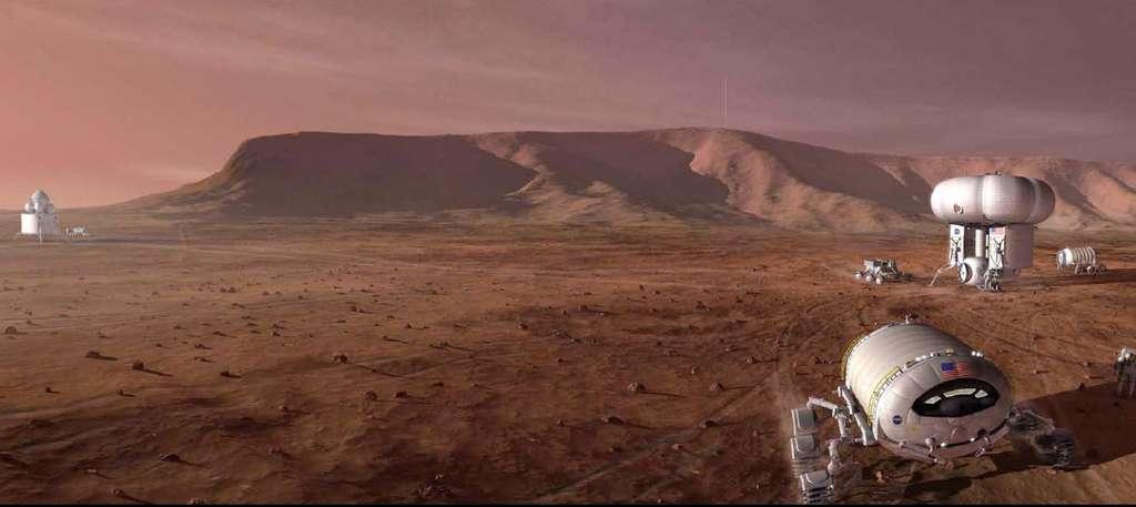 Défi technologique sans précédent, un vol humain à destination de Mars se fait toujours attendre. Malgré les bonnes intentions des agences spatiales, le secteur privé se dit prêt à prendre les choses en main. À l'image, un scénario de la Nasa datant de la fin des années 2000. © Nasa