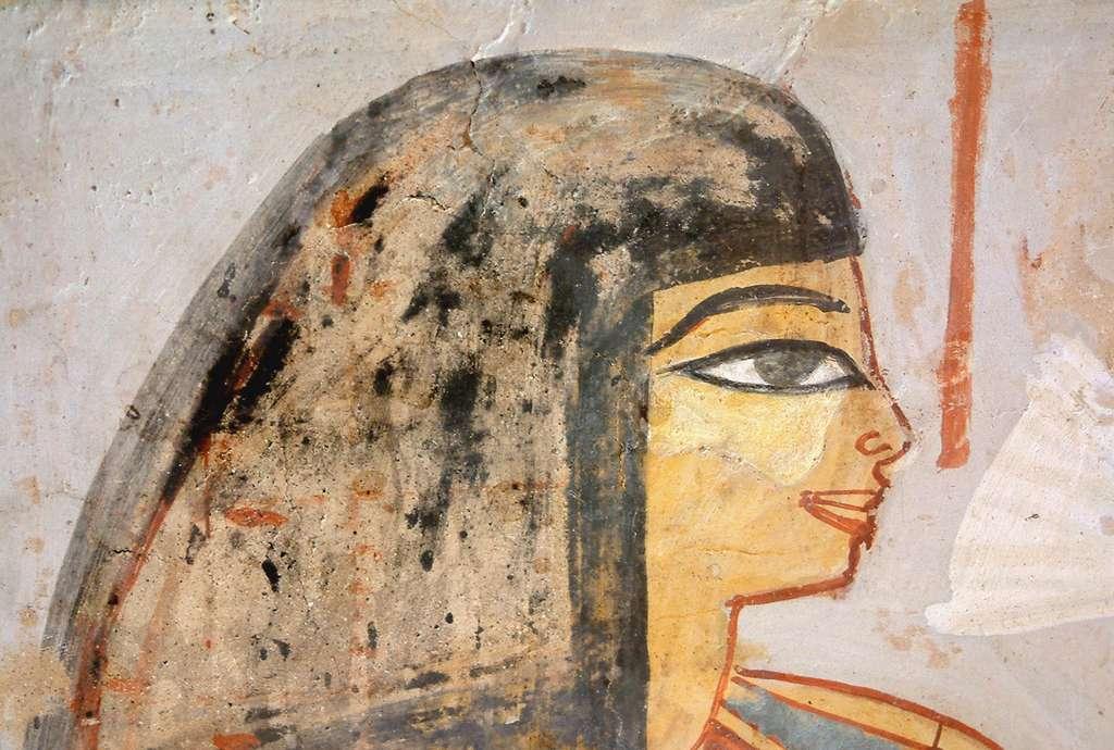 Femme à une cérémonie pendant le règne de Thoutmosis IV ou Aménophis III, ses yeux sont faits avec du Kohl (poudre contenant du sulfure d'antimoine). © Guillaume Blanchard, Wikimedia commons, CC 3.0
