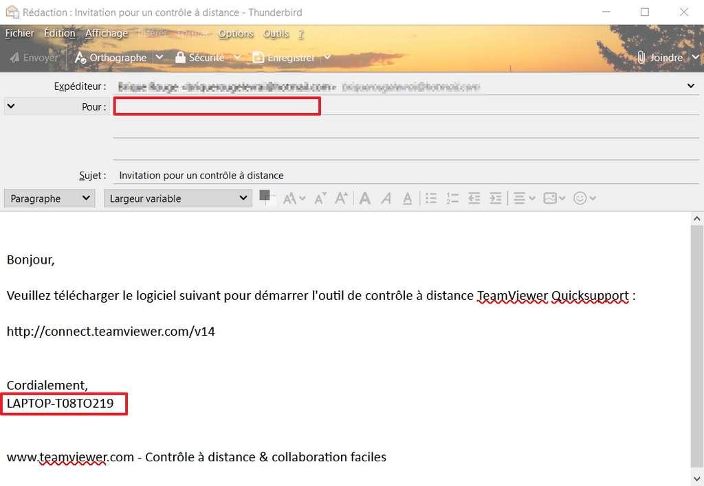 Écrivez l'adresse email du destinataire et envoyez l'invitation. © TeamViewer GmbH