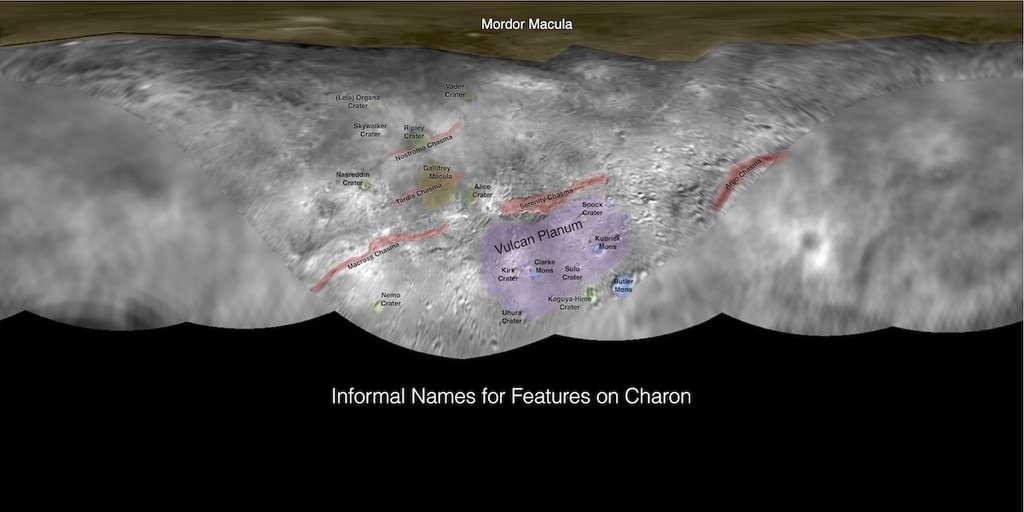 Cartographie de Charon avec les noms de ses reliefs choisis par le public. © Nasa, JHUAPL, SwRI