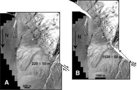 L'image de gauche a été prise par le satellite Ikonos. L'accumulation de rochers et de débris (moraines) est décalée par rapport à la vallée glaciaire (cercle). L'image de droite a été obtenue en décalant le coin supérieur droit le long de la faille, de manière à faire coïncider la vallées glaciaire et les moraines (cercle), et le maximum d'autres objets géologiques. Le déplacement (double) flèche est ainsi mesuré avec précision.© Chevalier et al.
