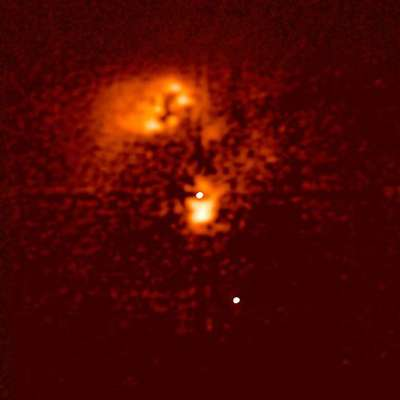 Image du quasar HE0450-2958 prise par le télescope Hubble. © Wikipédia