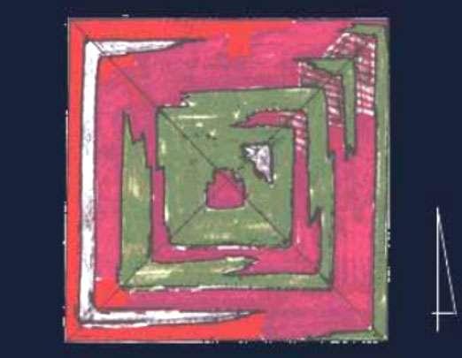 Interprétation des mesures de microgravimétrie de la campagne de recherche de 1986. En vert, les zones de faible densité pouvant traduire la présence de cavités. © J. Laksmanan, H. D. Bui, P. Delétie, J.-P. Baron, fondation EDF