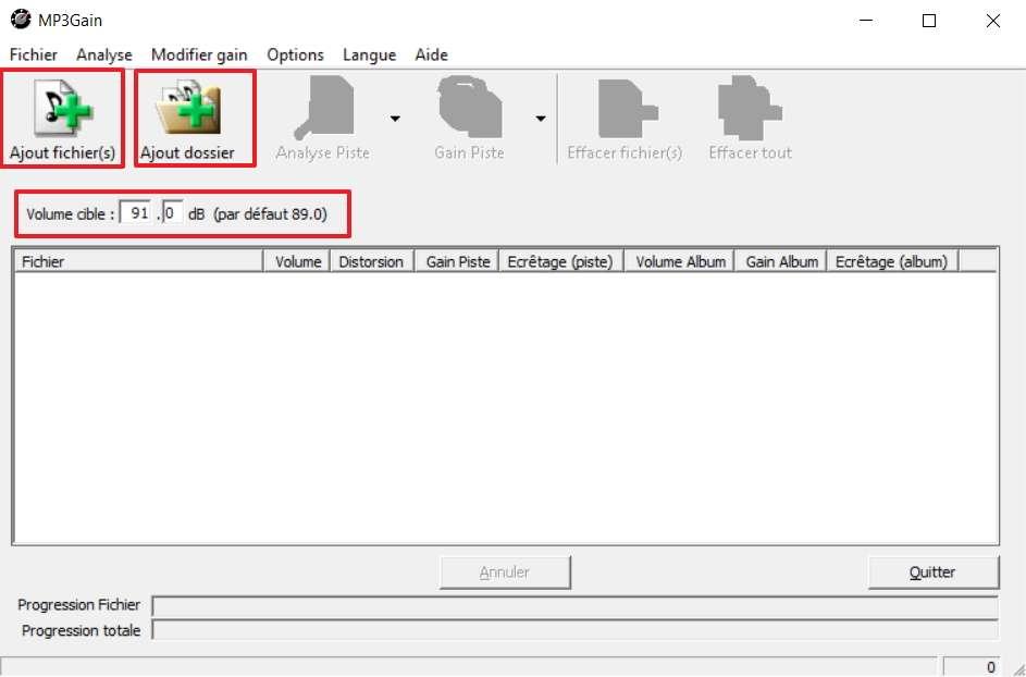Réglez le volume cible, puis ajoutez des fichiers mp3 pour harmoniser leur volume sonore. © MP3Gain