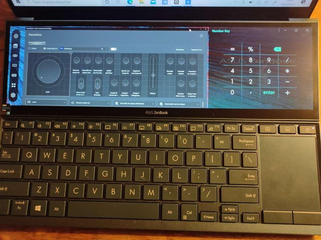 Les modules d'outils de quatre logiciels créatifs peuvent s'afficher dans le ScreenPad + afin de pouvoir les manipuler de façon tactile. © Futura
