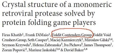 Une image rare : parmi les auteurs d'un article scientifique figure celui d'un groupe de joueurs d'un jeu en ligne... (Image de la publication dans Nature Structural and Molecular Biology)