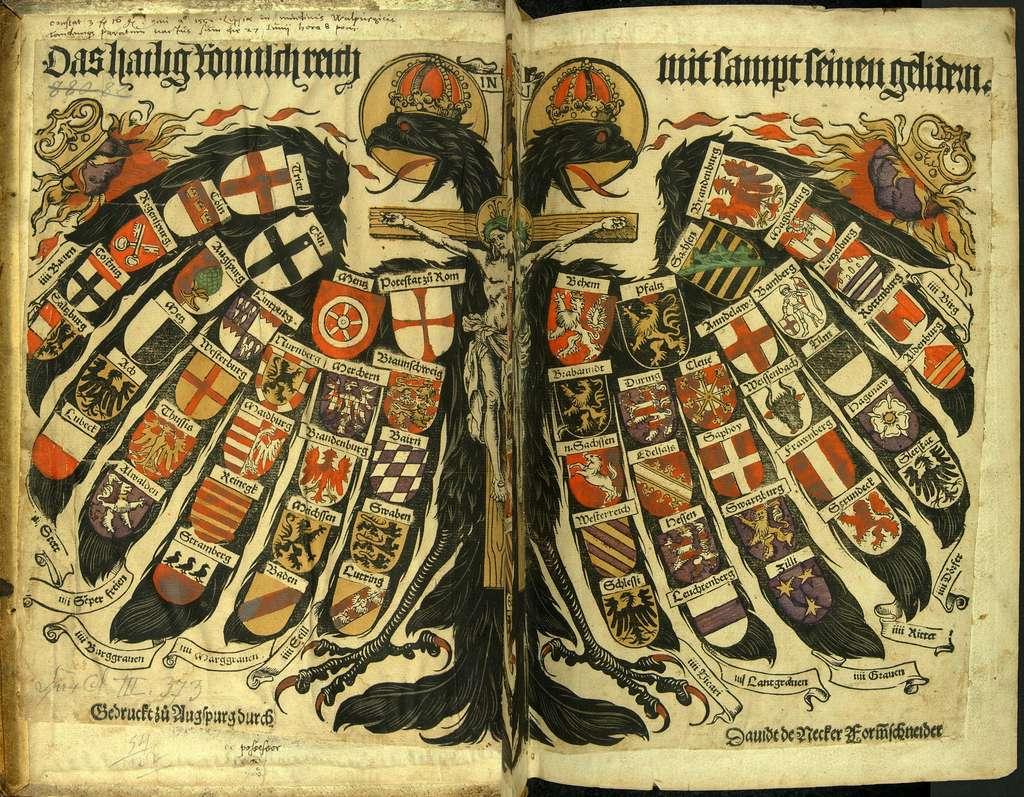 Tableau représentant les entités territoriales constituant le Saint Empire romain germanique, sous les ailes de l'aigle bicéphale impérial, publié par David de Necker à Augsbourg en 1510. © Wikimedia Commons, domaine public