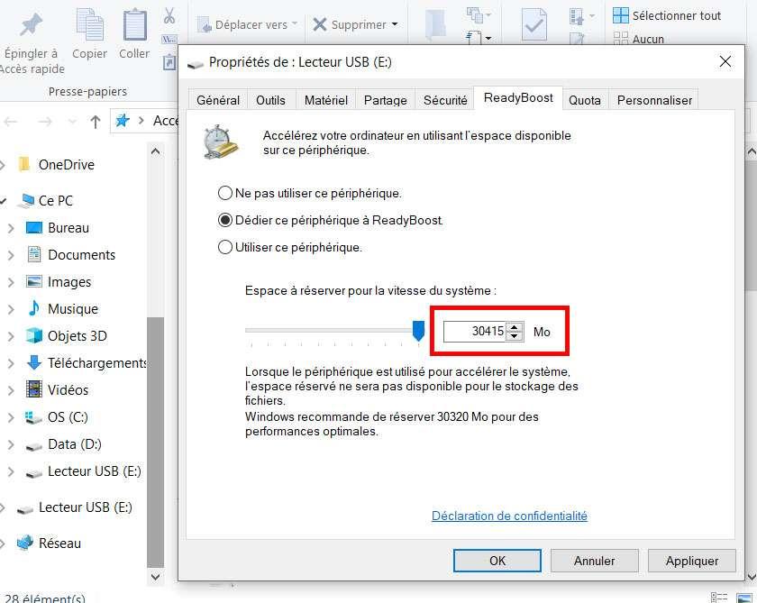 L'espace de stockage alloué pour une clé USB en NTFS est plus important qu'en FAT32. ©Microsoft