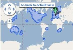 En bleu, les zones où le service Streetview est disponible. Le continent Antarctique n'est pas encore envahi... © Google