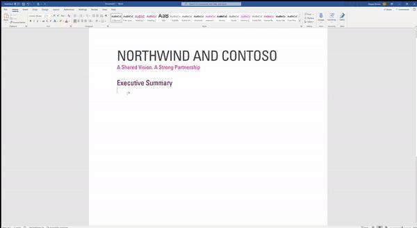 Une nouvelle fonctionnalité de Microsoft arrive en mars dans Word et Outlook, appelée prédictions de texte. © Microsoft