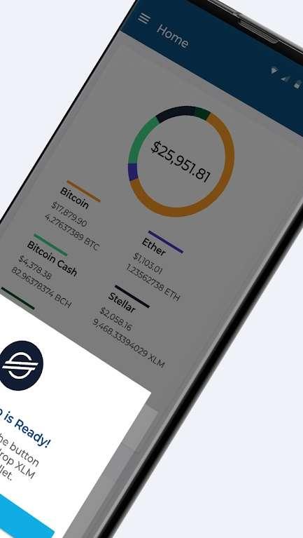 Blockchain Wallet ne permet de stocker que 4 cryptomonnaies différentes : le Bitcoin, le Bitcoin Cash, l'Ether et le Stellar. © Blockchain Luxembourg
