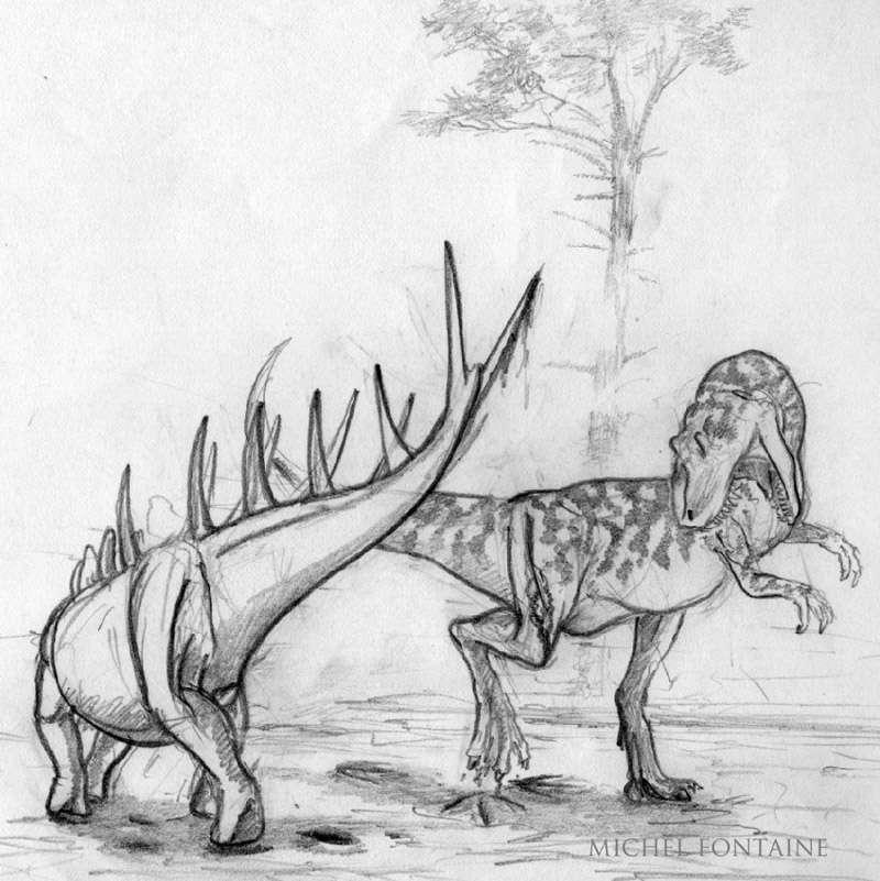 Une esquisse d'une scène classique : le combat entre un carnivore et un ornithopode, qui après approbation, sera mise en couleur. © Michel Fontaine