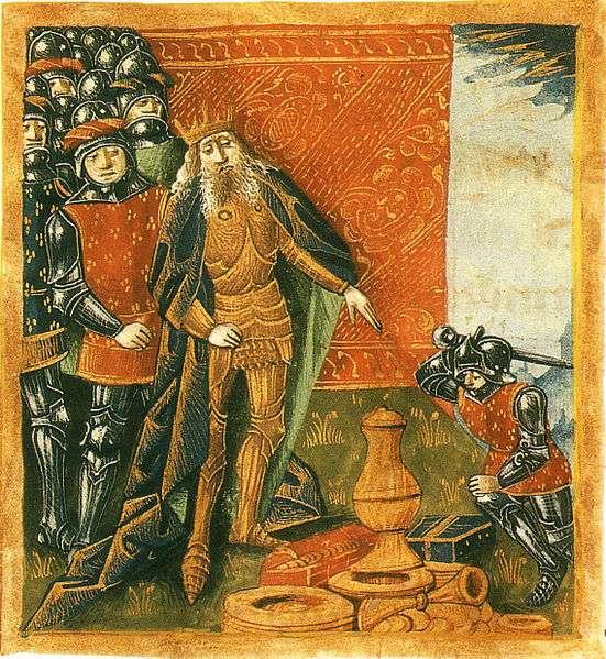Clovis Ier et le vase de Soissons. Grandes Chroniques de France, XIVe siècle. © Bibliothèque nationale de France, DP