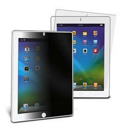 Une tablette comme l'iPad diffuse une image visible depuis toutes les directions, le filtre en rend confidentiel l'affichage, mais uniquement en mode portrait du fait de l'orientation statique des volets. Un tel filtre coûte aux alentours de 30 euros. © 3M