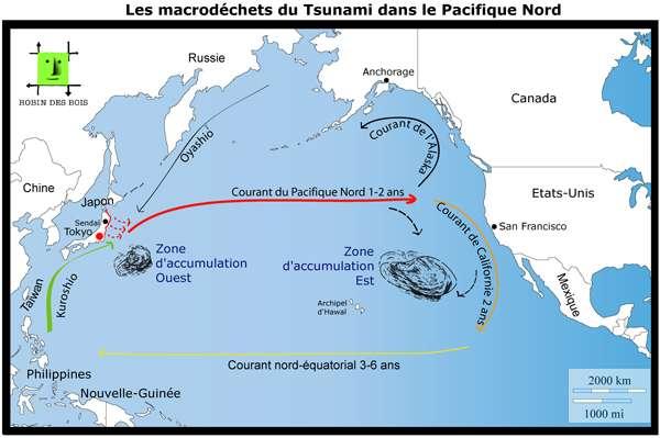 Durant l'expédition 7e continent, le voilier s'est rendu dans la zone d'accumulation est du gyre nord-pacifique. Il a failli rencontrer des déchets du tsunami de Tohoku. © Robin des bois, www.robindesbois.org