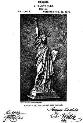 Brevet de la statue de la liberté obtenu en 1879