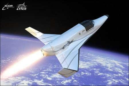 Le Lynx-1, un projet de la société XCor, est un avion muni d'un moteur-fusée (fonctionnant donc sans l'oxygène de l'air) et capable d'atteindre 60 kilomètres d'altitude. © XCor