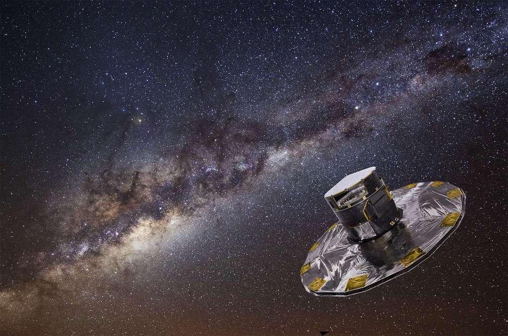 Le satellite Gaia est au point de Lagrange L2 du système Terre-Soleil, pour cartographier la Voie lactée comme jamais aucun télescope spatial ne l'a fait. © S. Brunier, ESA