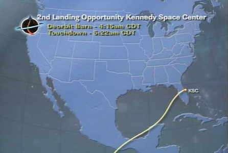 Trajectoire suivie par Discovery lors de son atterrissage prévu pour 12H22 (heure de Paris) (crédit : NASA-TV)
