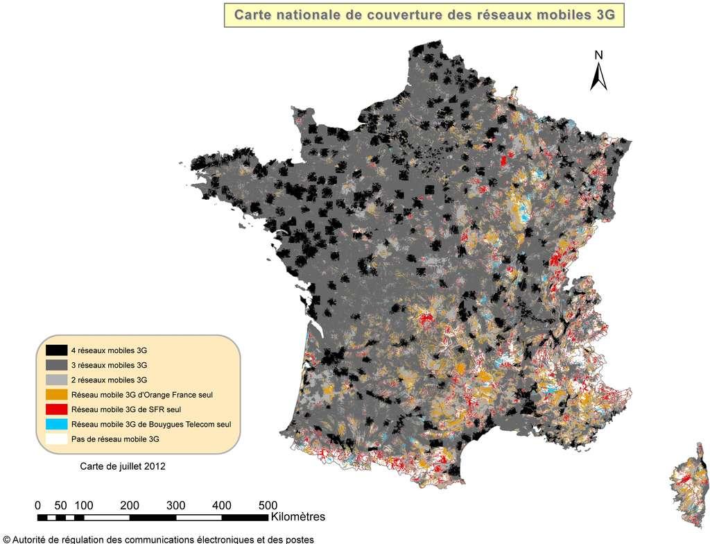 La couverture des réseaux 3G en 2012 selon l'Arcep. Officiellement, les trous sont rares... © Arcep