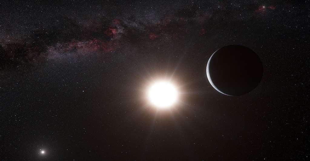 Cette vue d'artiste montre la planète en orbite autour de l'étoile Alpha du Centaure B. Le faible signal de la planète a été détecté par le spectrographe HARPS sur le télescope de 3.6 mètres de l'Observatoire de La Silla de l'ESO au Chili. © ESO/L. Calçada/N. Risinger, CC BY 4.0