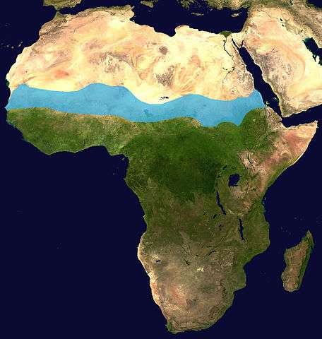 Carte du Sahel en bleu. © Flockedereisbaer, Wikimedia commons, CC 3.0 Germany