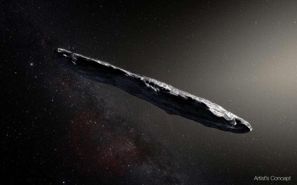 Une vue d'artiste de l'objet que les astronomes ont officiellement baptisé 1I/2017 U1 et rapidement surnommé 'Oumuamua. Jamais un objet de cette forme n'a été observé dans notre Système solaire auparavant. © M. Kornmesser, Observatoire européen austral