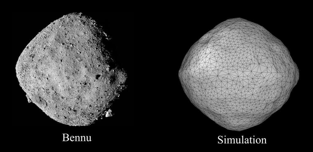 L'astéroïde Bennu, à gauche, comparé à une simulation utilisant le modèle des scientifiques de l'Oist et de l'Université Rutgers. Comme on peut le voir, la forme de la simulation correspond à celle de Bennu. © Sabuwala et al., 2021