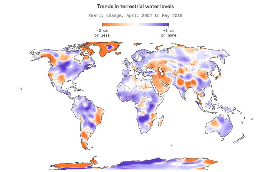Cette carte montre les variations des niveaux des réserves d'eau douce. En orange, les régions qui ont le plus perdu d'eau et en violet celles qui en ont gagné. © Harry Stevens, Axios, carte adaptée de M. Rodell et al., 2018