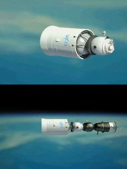 Concept à l'étude d'un Soyouz lunaire (en noir) avec son étage de transfert et un module d'habitation (en blanc). © Space Adventures