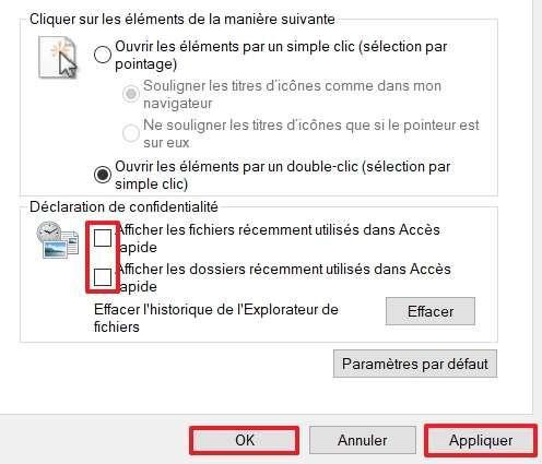 Décochez les cases concernant les fichiers et dossiers récemment utilisés afin qu'ils n'apparaissent plus dans l'Accès rapide. © Microsoft