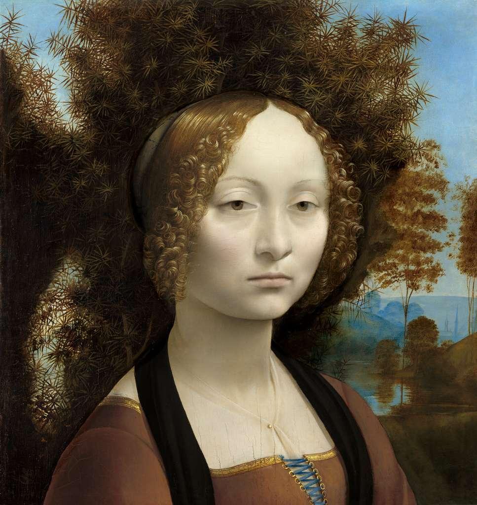 Ginevra de' Benci, œuvre de Léonard de vinci, 1474-1478, un des premiers portraits connus de l'art italien à trois quarts, et seule peinture de l'artiste italien visible aux États-Unis. © National Gallery of Art, Washington.