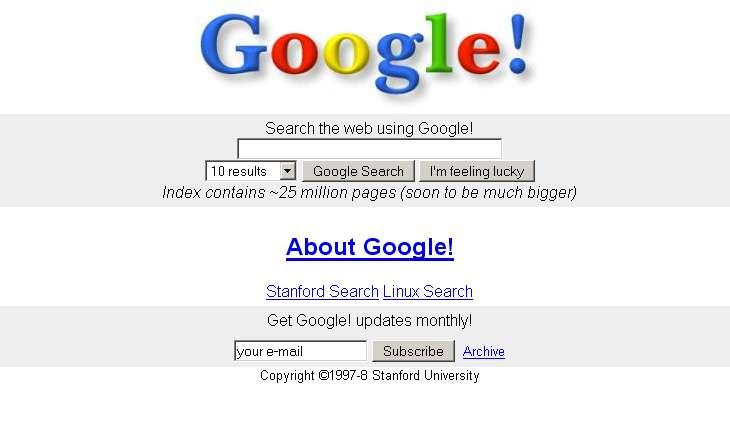 Voilà à quoi ressemblait Google en 1997 © larry-serguei-et-moi.blogspot.com