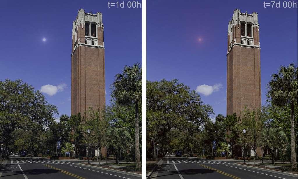 Ces images simulées montrent l'aspect dans le visible aujourd'hui d'une kilonova provenant d'une fusion d'étoiles à neutrons située à 1.000 années-lumière de la Terre, un jour (à gauche) et une semaine (à droite) après la fusion. © Gupte & Bartos 2019, Lynn Palmer