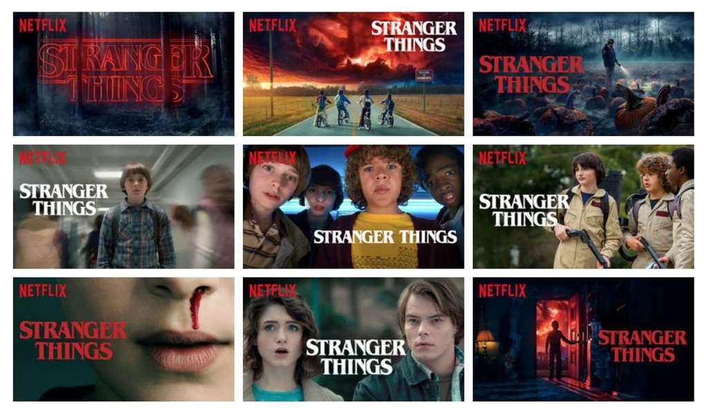 Les différentes vignettes pour la série devenue culte Stranger Things. © Netflix