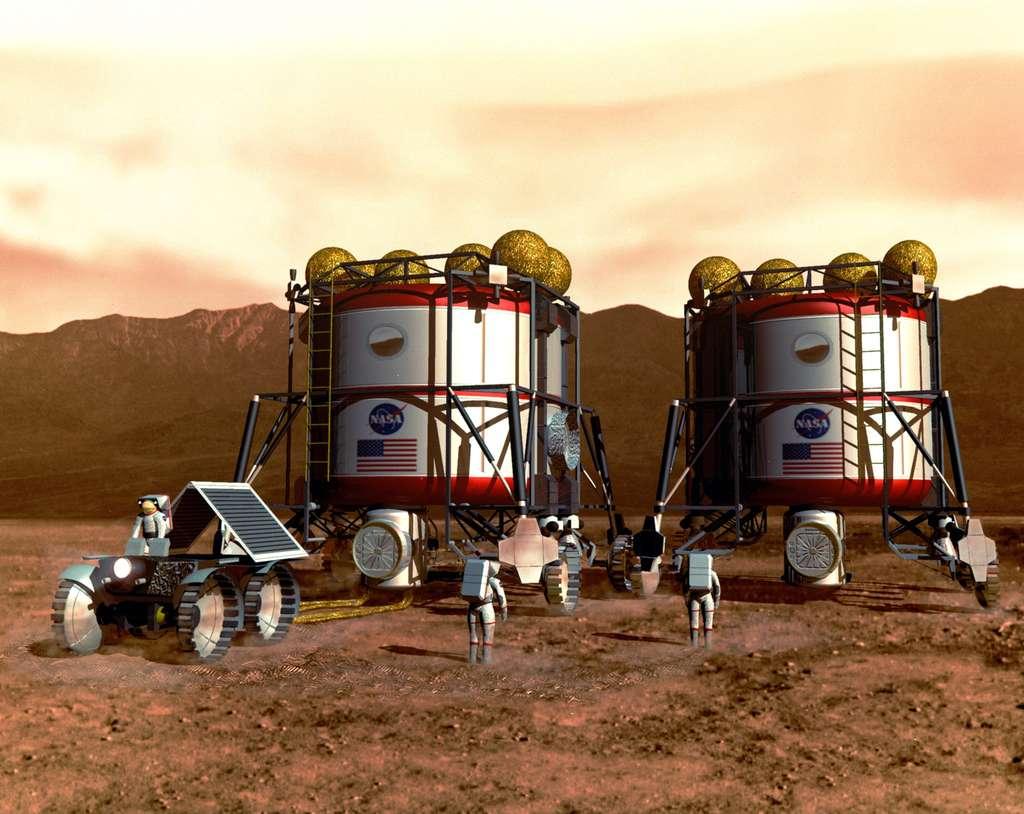 La Nasa veut envoyer des Hommes sur Mars via la Lune dès 2033. En 1993, l'Homme réfléchissait déjà à des habitats martiens. © Nasa