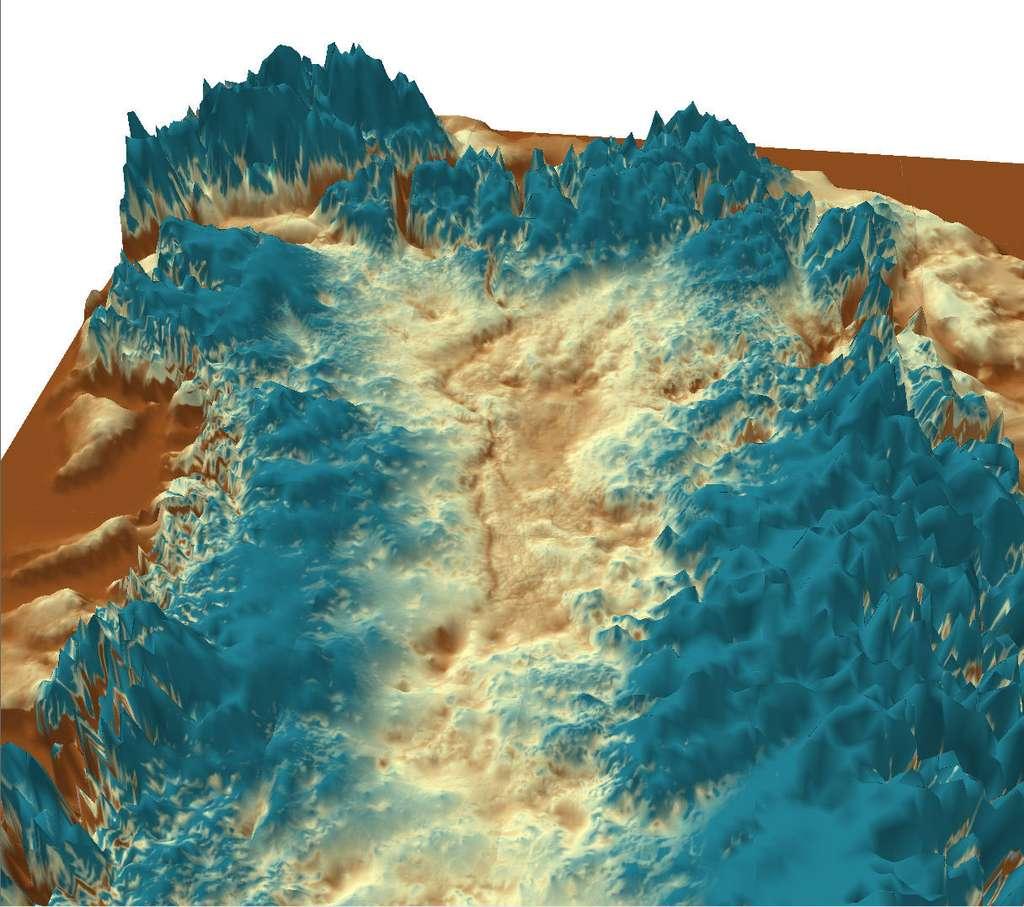 Vue tridimensionnelle du canyon découvert au Groenland, sous la calotte glaciaire. Il débute au centre de l'île, puis se dirige ensuite vers sa partie nord-ouest, où il rejoint l'océan Arctique. © J. Bamber, University of Bristol