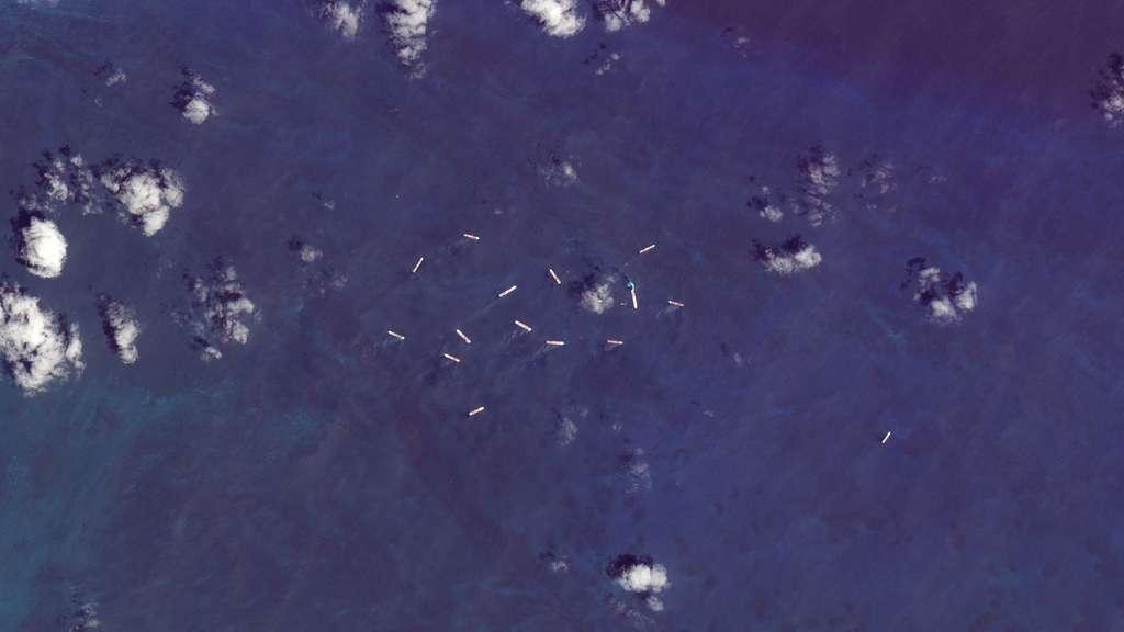 Quinze paquebots de croisière au large de Coco Cay, l'île privée de Royal Caribbean. © 2020 Planet Labs, Inc