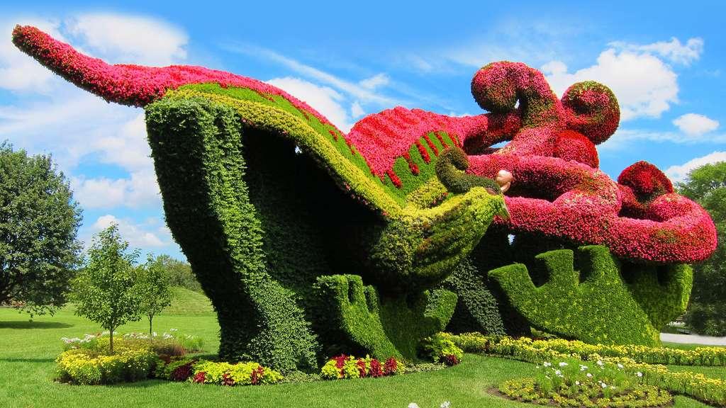 Sculpture végétale de phénix en fleurs de bégonia