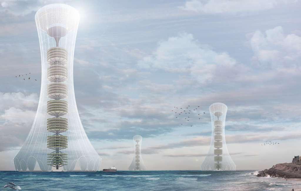 La tour condense l'eau issue de l'évaporation de l'eau de mer puis la filtre pour en faire de l'eau potable. © Seunghwan Jung, Ryeojin Jeon, eVolo
