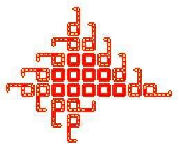 Les boucles de Langton : un automate cellulaire autoréplicateur. © DR